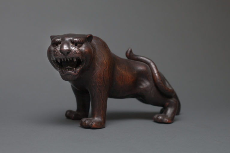 Japanese Bizen Ware Sculpture of a Tiger