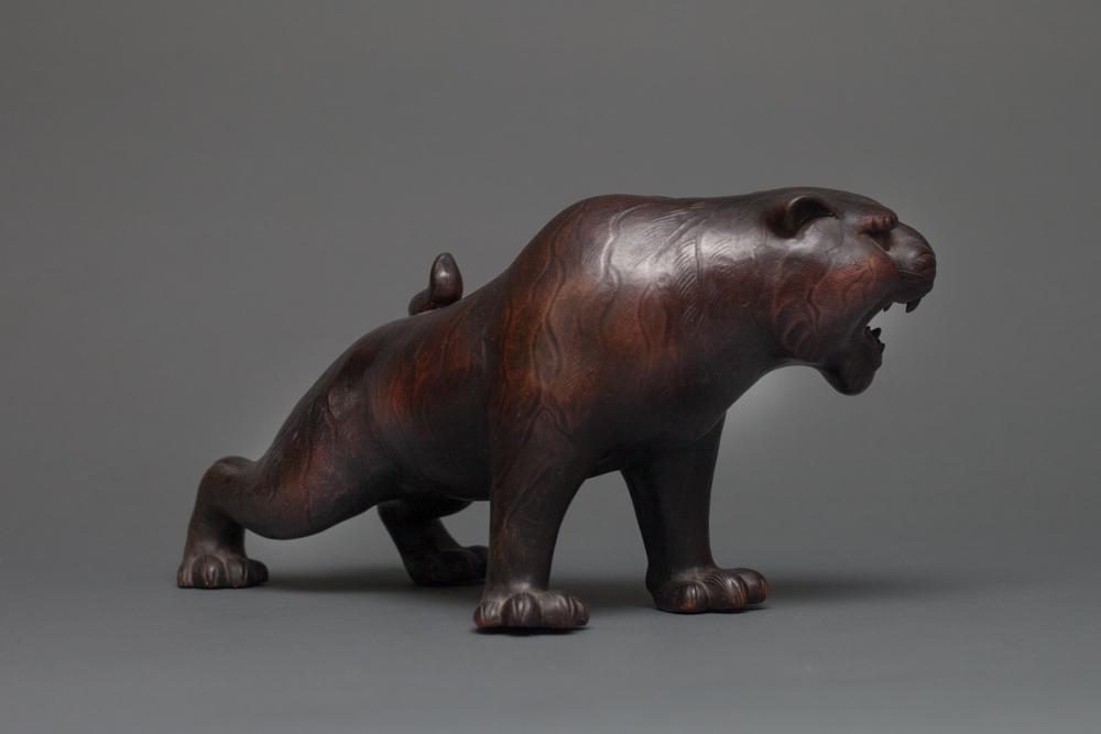 Japanese Bizen Ware Sculpture of a Tiger