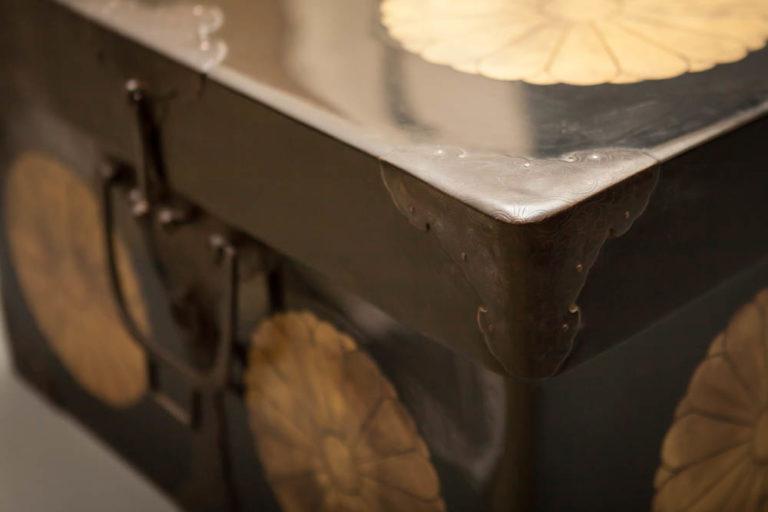 Japanese Black and Gold Lacquer Kimono Storage Box