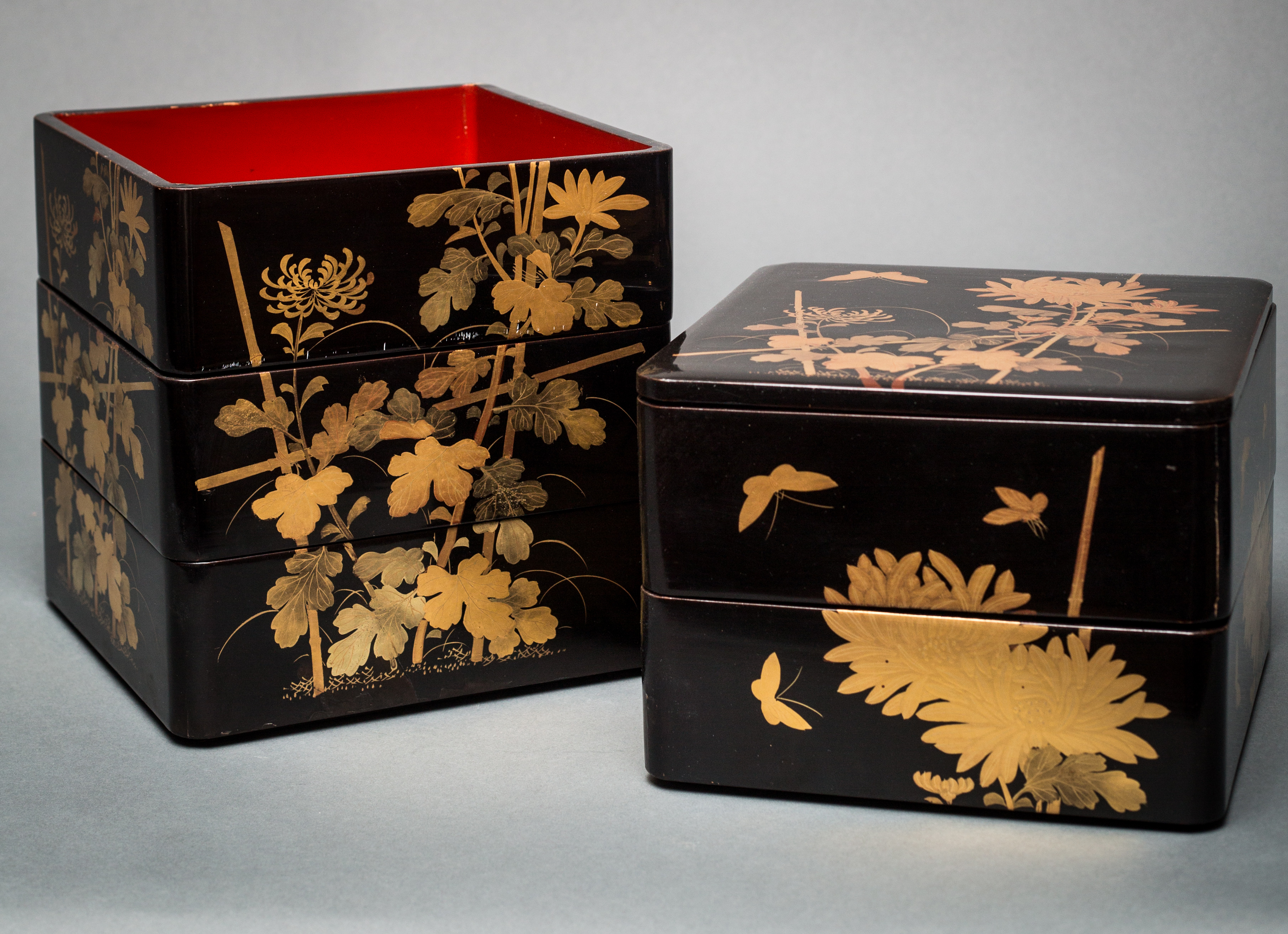 Japanese Black Lacquer Five Tier Box