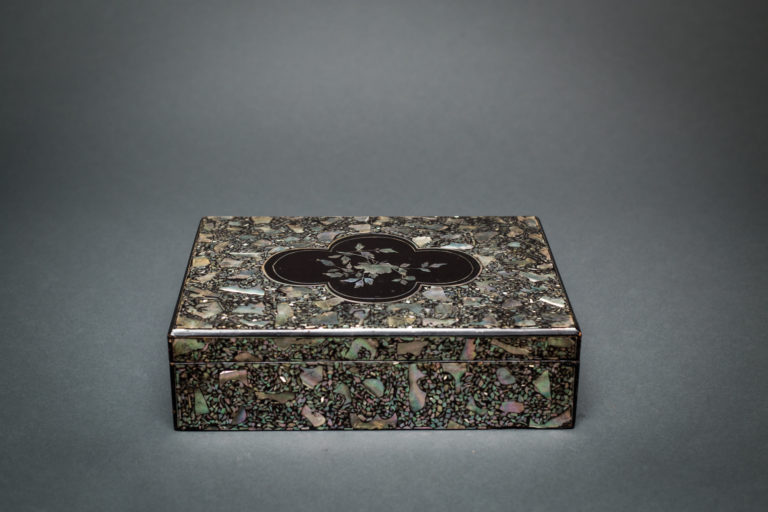 Japanese Black Lacquer and MOP Letter Box with Western Influenced Design