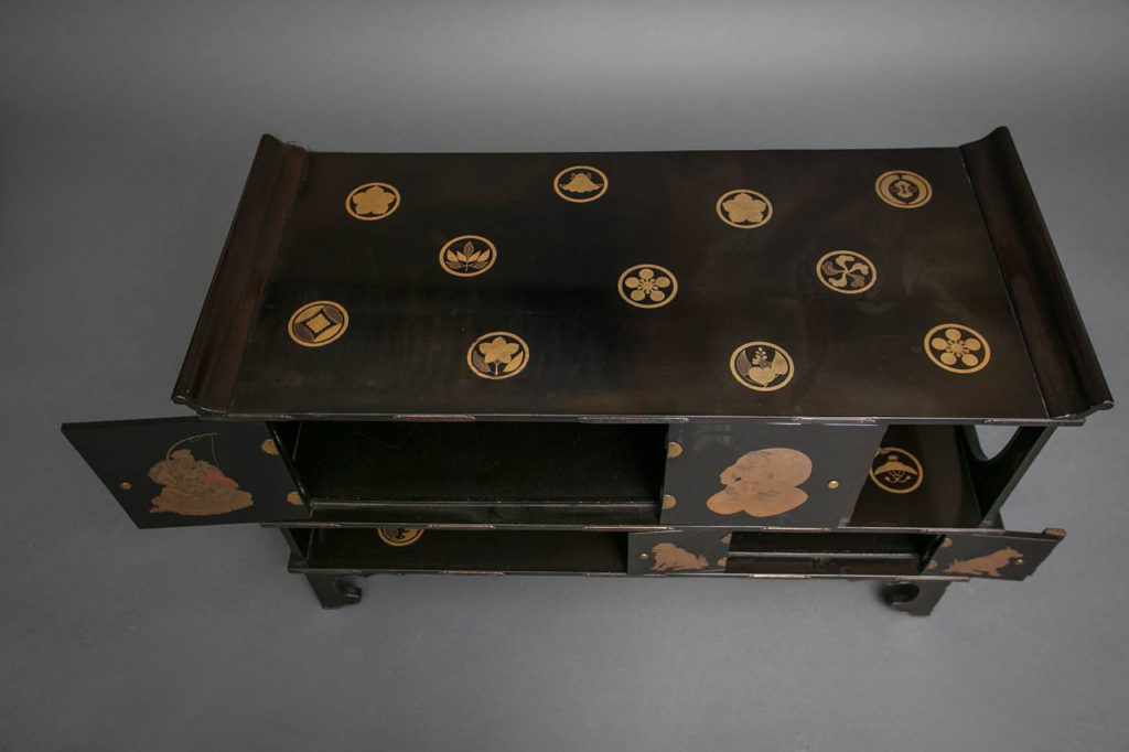 Japanese Black Lacquer Tana (Tiered Tea Cabinet)