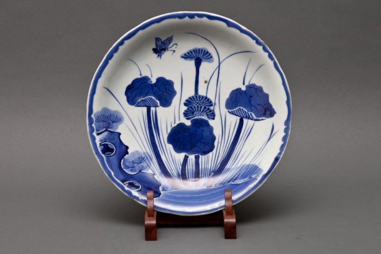 Japanese Blue and White Imari Plate with Lotus and Butterfly Design