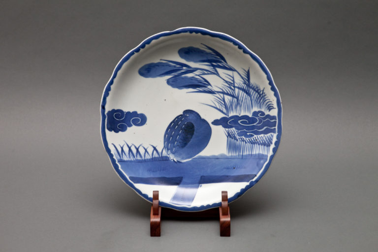 Japanese Blue and White Imari Plate with Quail