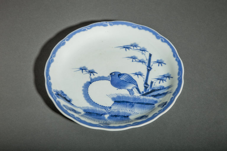 Japanese Blue and White Lobed Imari Plate