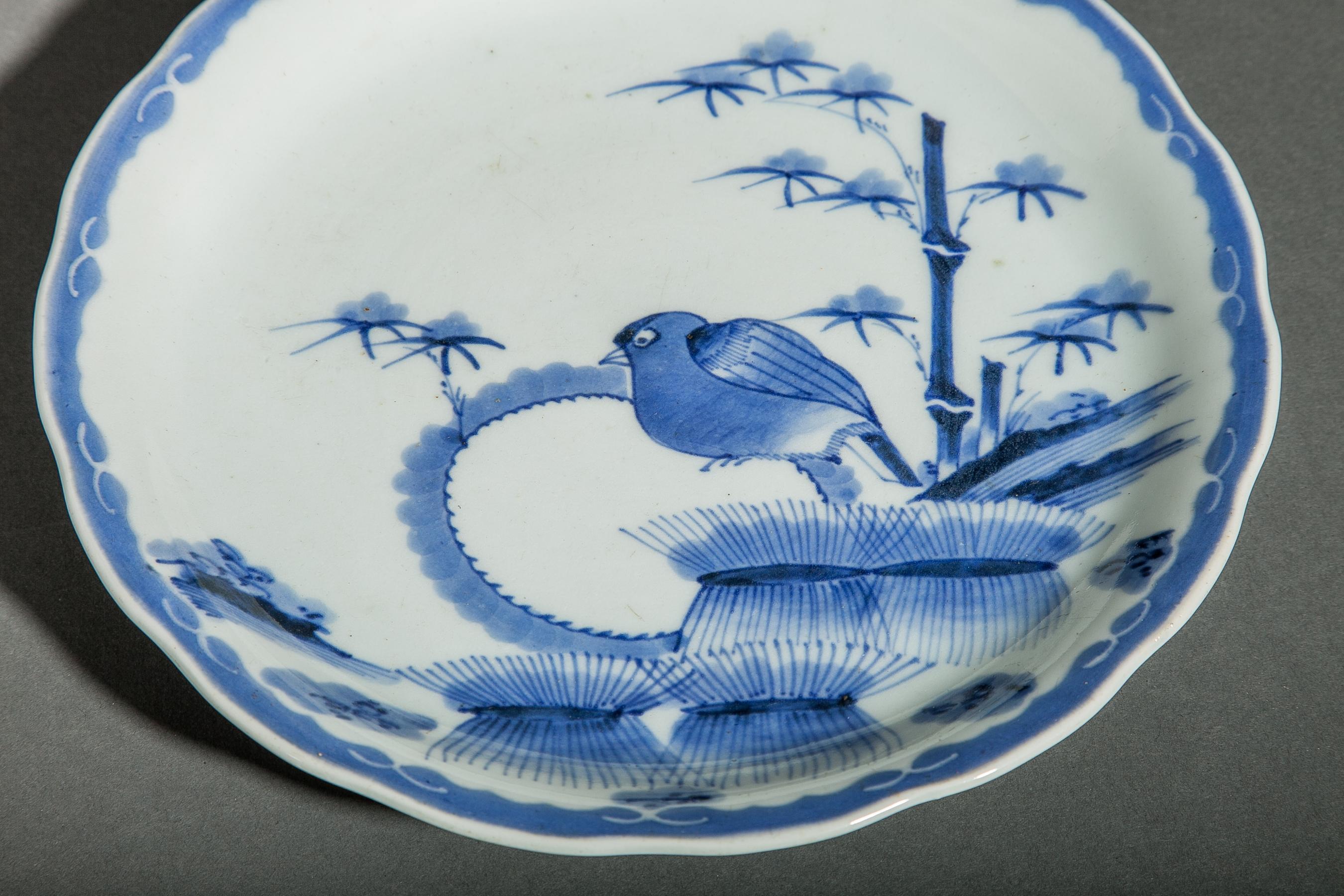 Japanese Blue and White Lobed Imari Plate