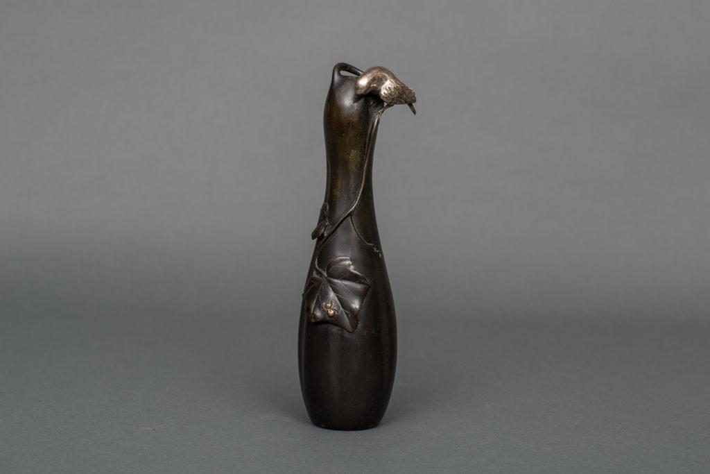 Japanese Bronze Bud Vase With Gourd Shape