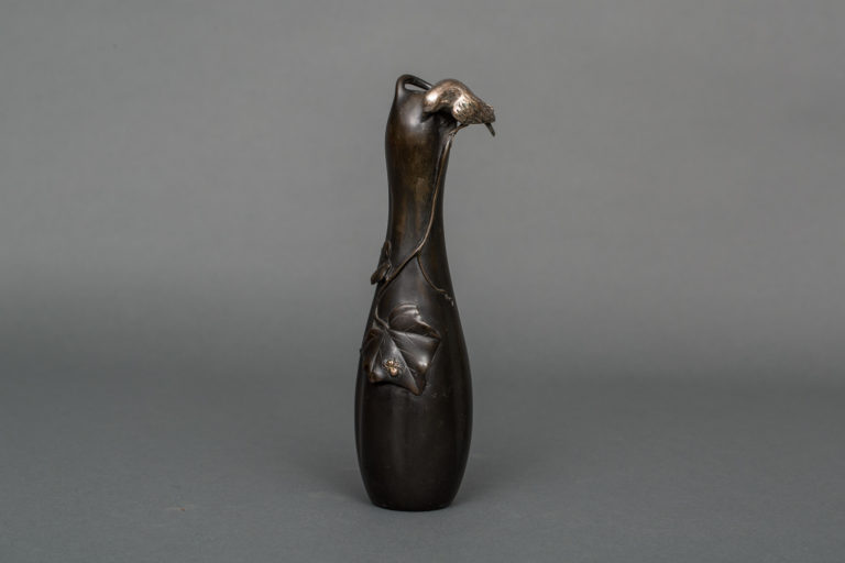 Japanese Bronze Bud Vase With Gourd Shape