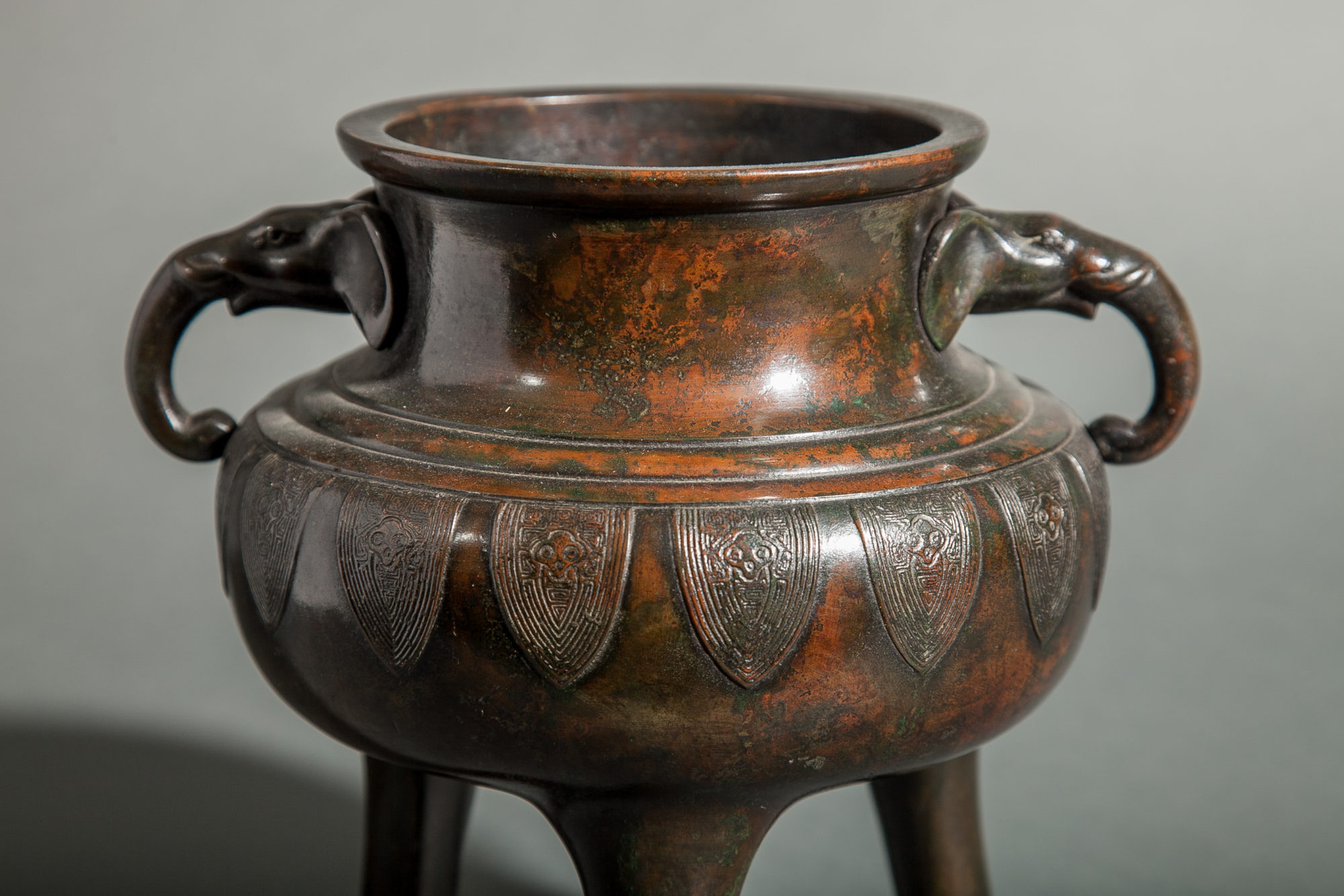Japanese Bronze Censer with Archaic Blades Design and Moulded Elephant Head Handle