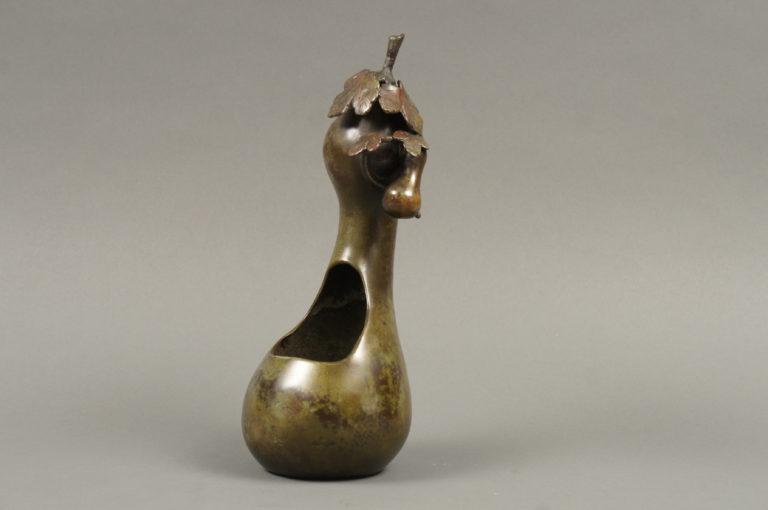 Japanese Bronze Gourd Shaped Vase for Ikebana