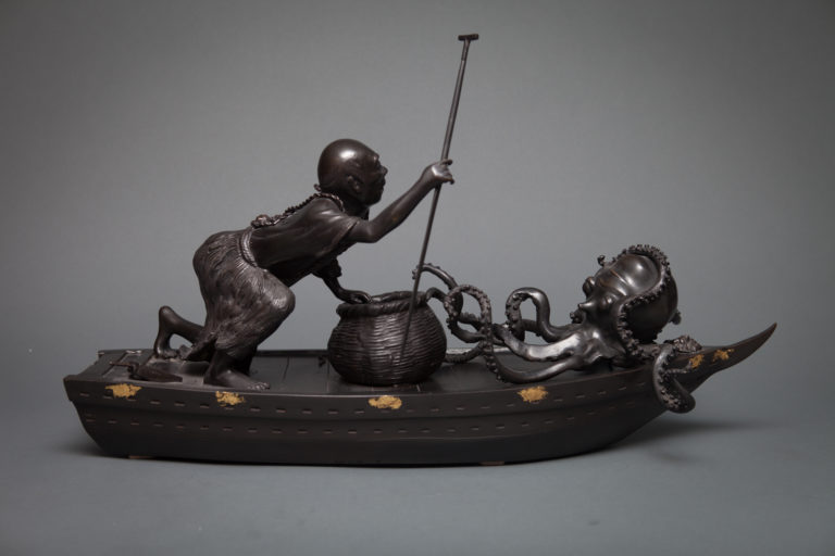 Japanese Bronze Okimono of a Fisherman in a Boat with Live Octopus