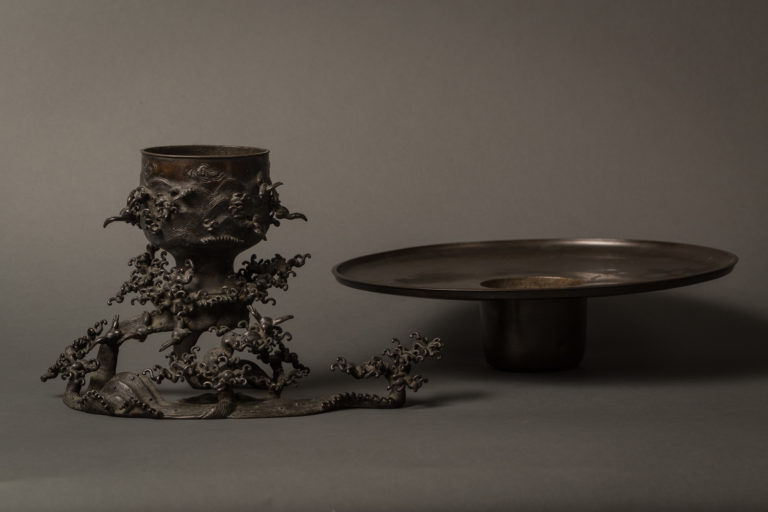 Japanese Bronze Usubata (Flower Arranging Vessel)