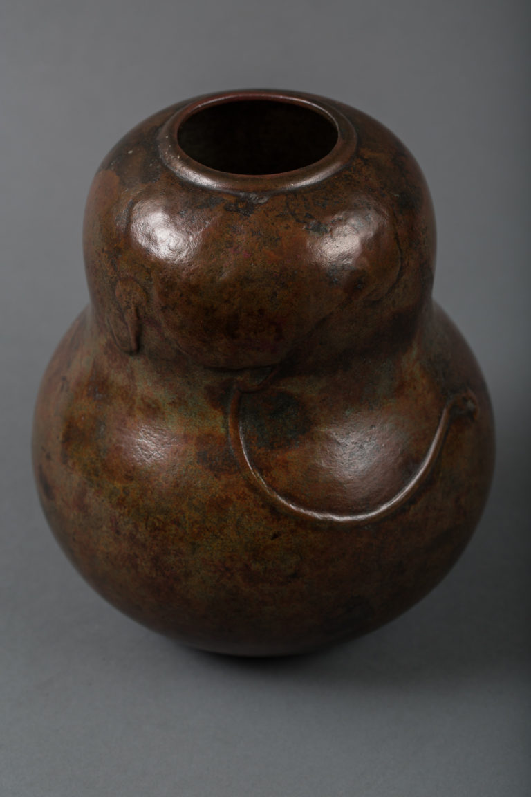 Japanese Bronze Vase in Gourd Shape