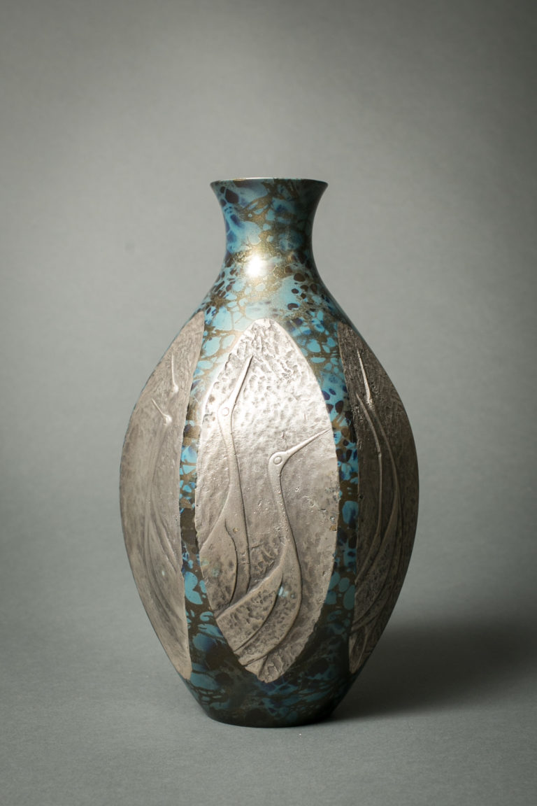 Japanese Bronze Vase with Crane Design and Unusual Patina