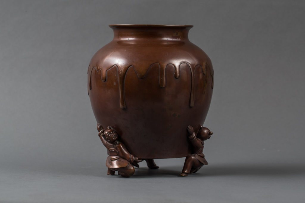 Japanese Bronze Vase With Drip Design and Beautiful Patina