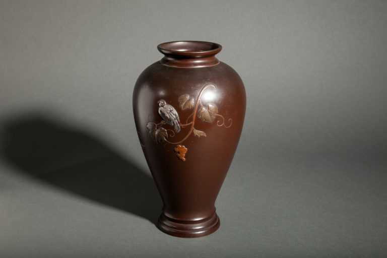 Japanese Bronze Vase with Finch on Grape Vine