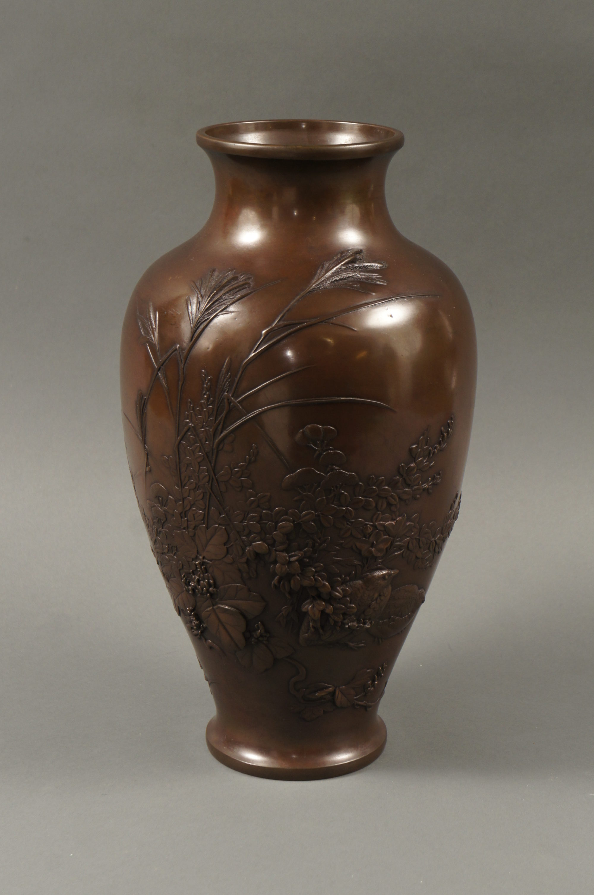 Japanese Bronze Vase with Grasses and Quail Design