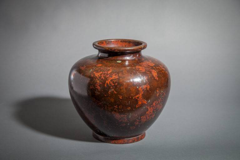 Japanese Bronze Vase with Red Splash Patina