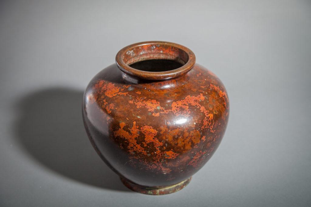 Japanese Bronze Vase with Red Splash Patina