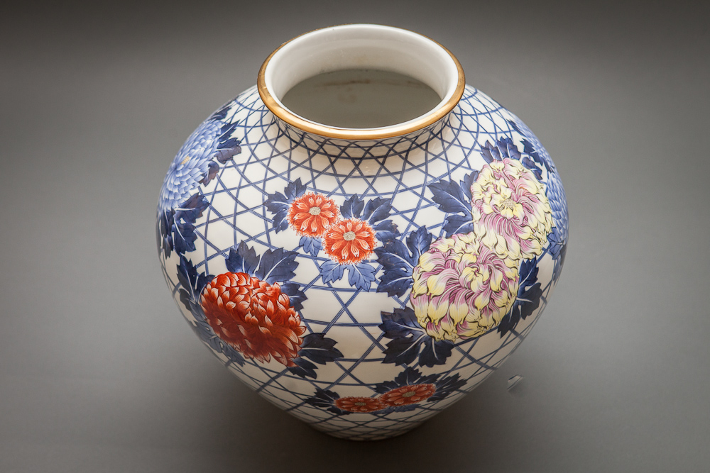 Japanese Ceramic Vase with Peonies and Chrysanthemums over Basket Weave Design