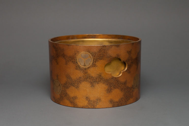 Japanese Dark Brown Lacquer Hibatchi with Gold Mons