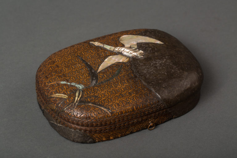 Japanese Early 18th Century Woven Basketry and Lacquer Writing Box (Suzuribako)
