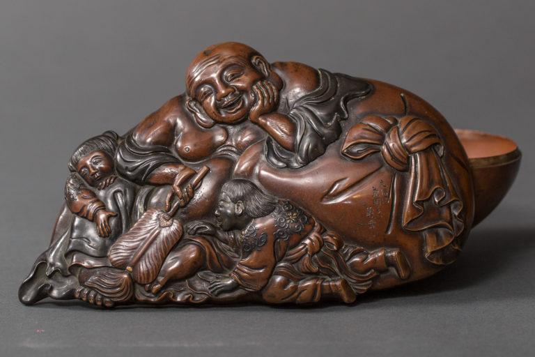 Japanese Edo Period Antique Bronze Box in Hotei Design