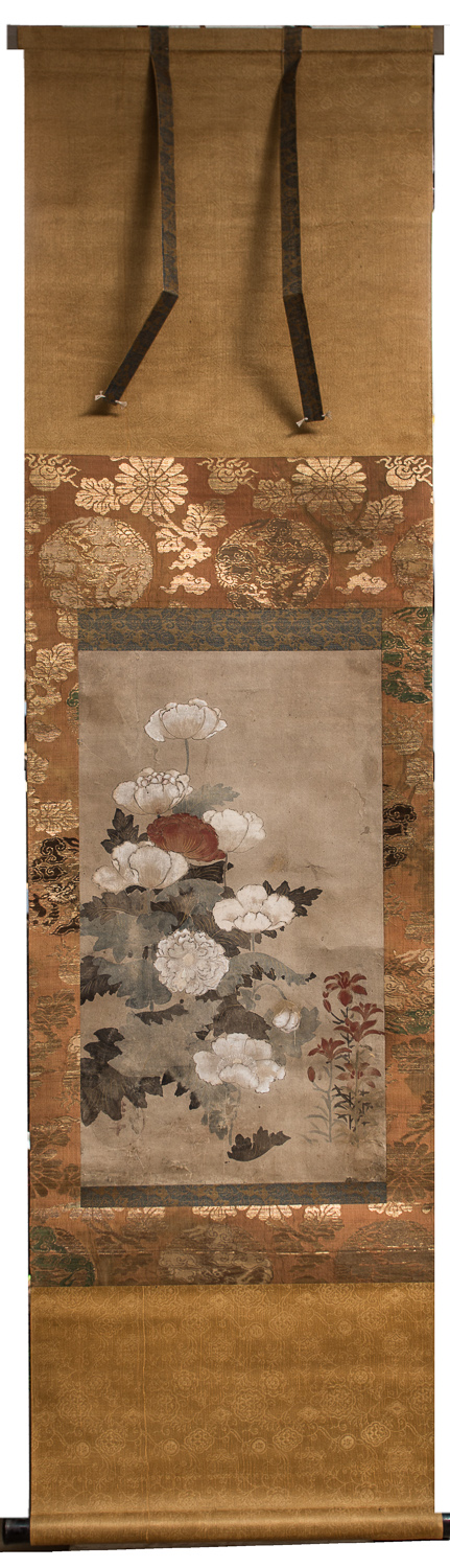 Japanese Edo Period Scroll of Poppies
