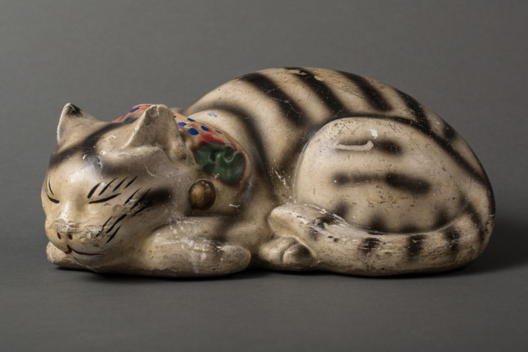 Japanese Fushimi Clay Sleeping Cat.