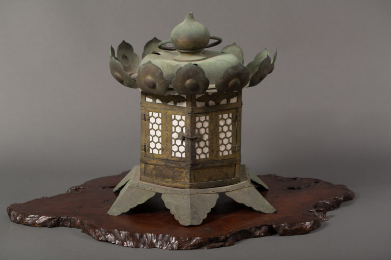 Japanese Gilt Bronze Hanging Garden Lantern