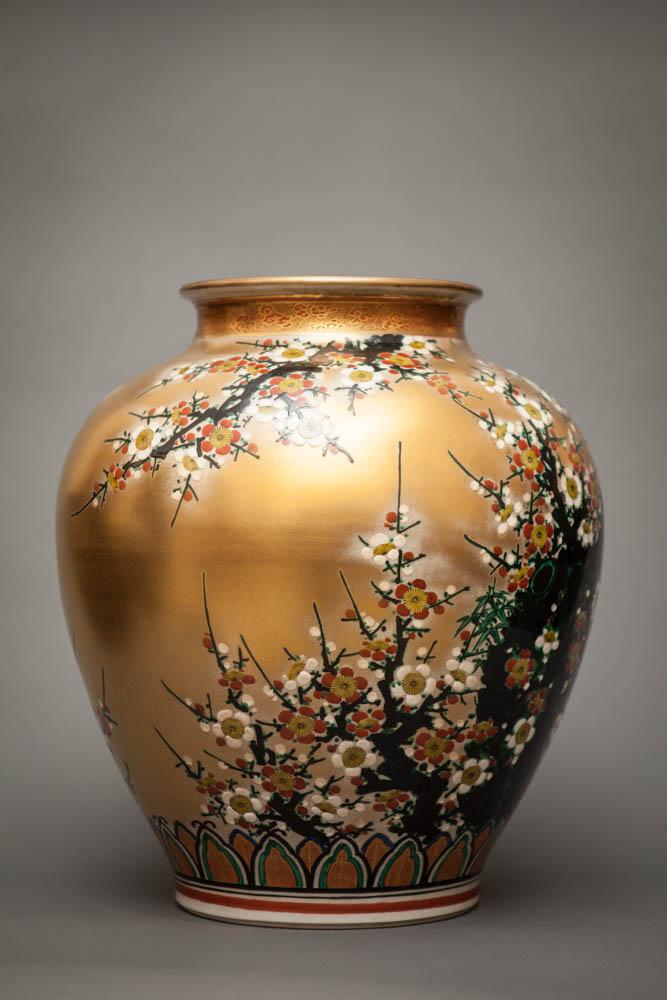 Japanese Gold  Kutani Style Studio Vase With Flowering Plum Tree