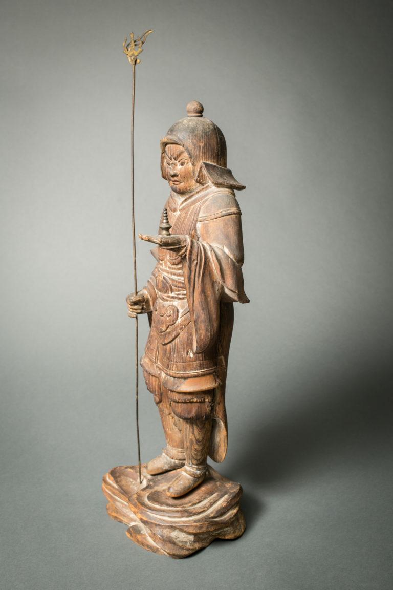 Japanese Hinoki Wood Sculpture of Bishamon