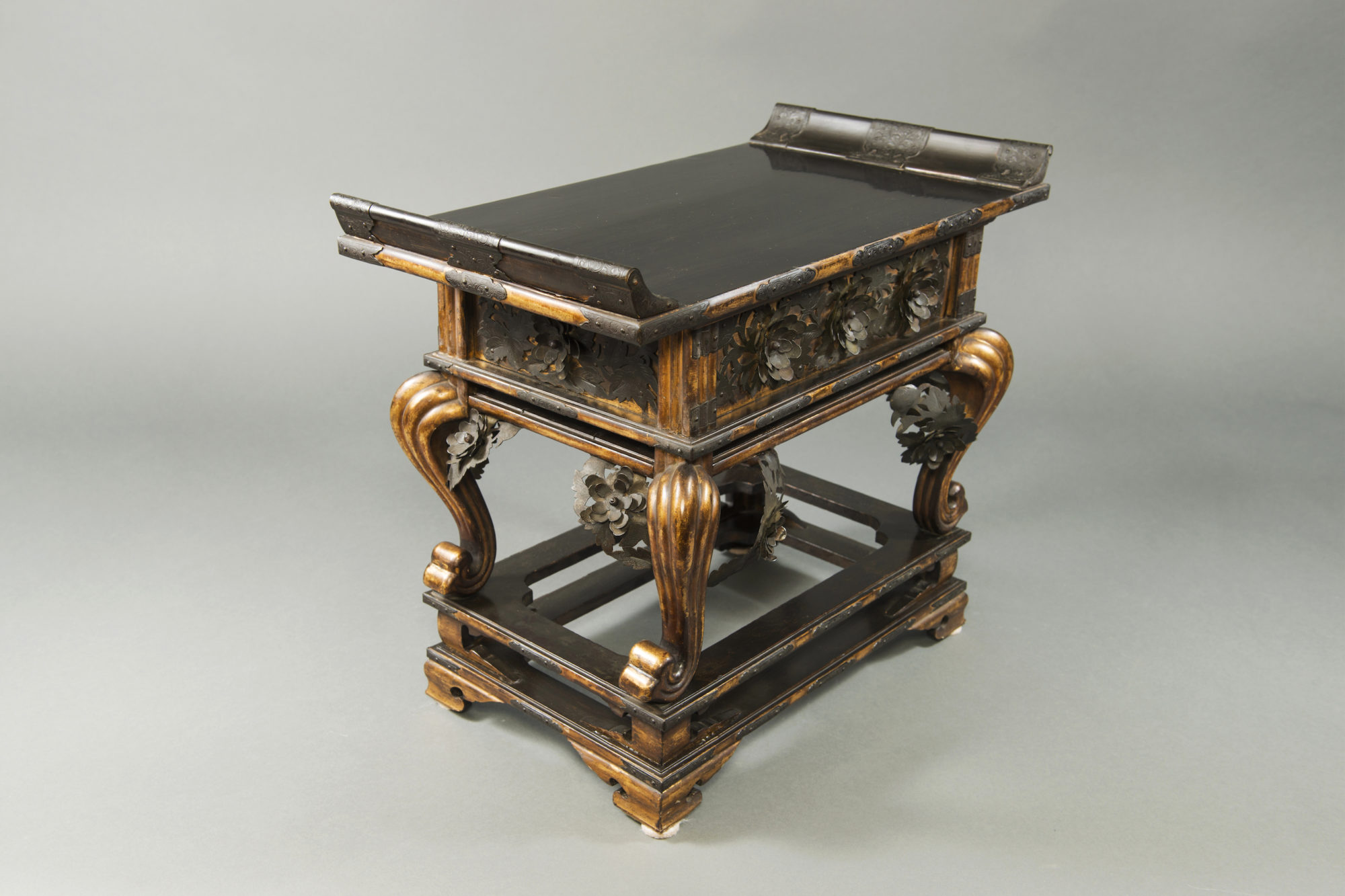 Japanese Late 18th – Early 19th  Century Buddhist Stand in Lacquer, Gold, and Bronze