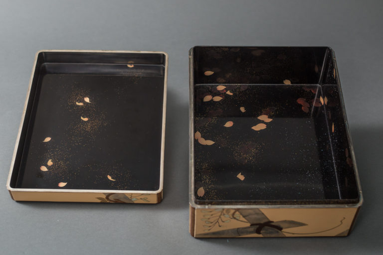 Japanese Meiji Lacquer Letter Box With Flowering Vine and Butterfly