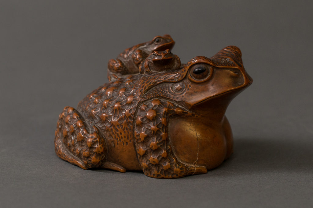 Japanese Meiji Period Box Wood Carving of a Frog with Baby Frogs