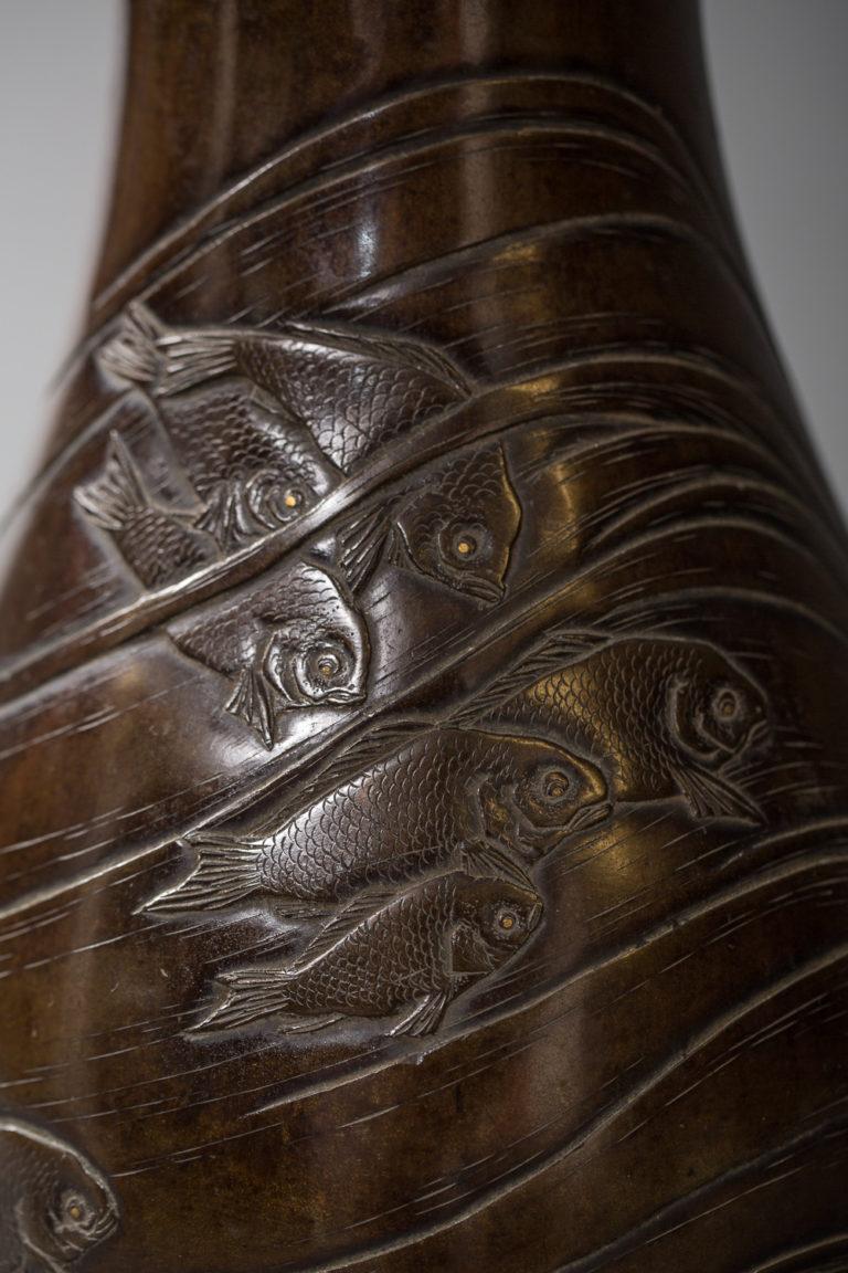 Japanese Meiji Period Bronze Vase with Swimming Fish