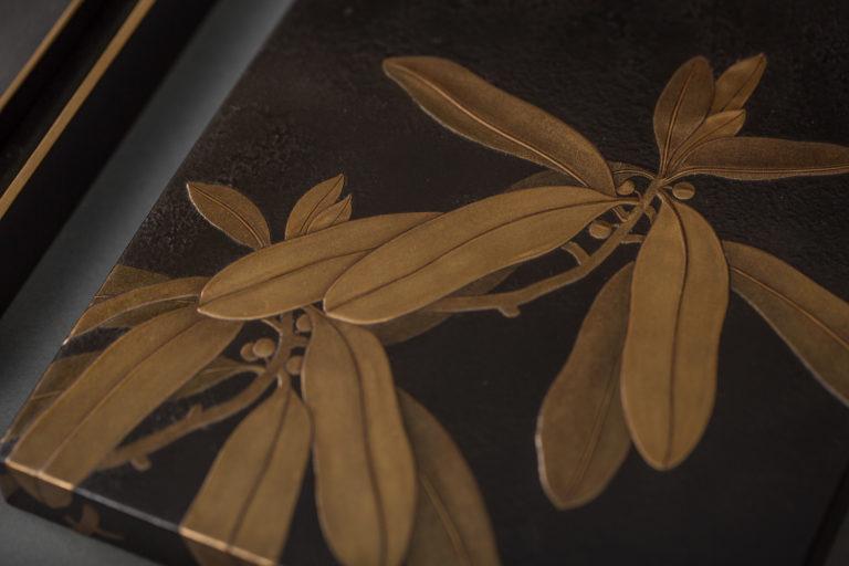 Japanese Meiji Period Suzuribako (Writing Box) with Leaf Design