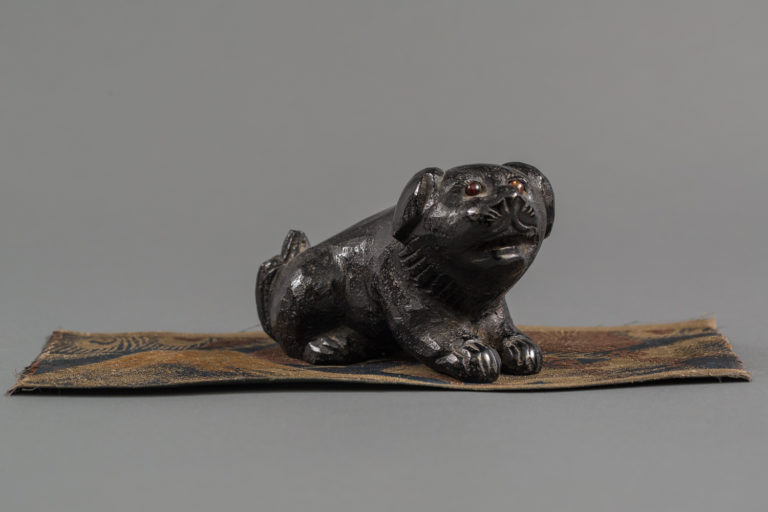 Japanese Meiji Period Wood Carving of a Puppy