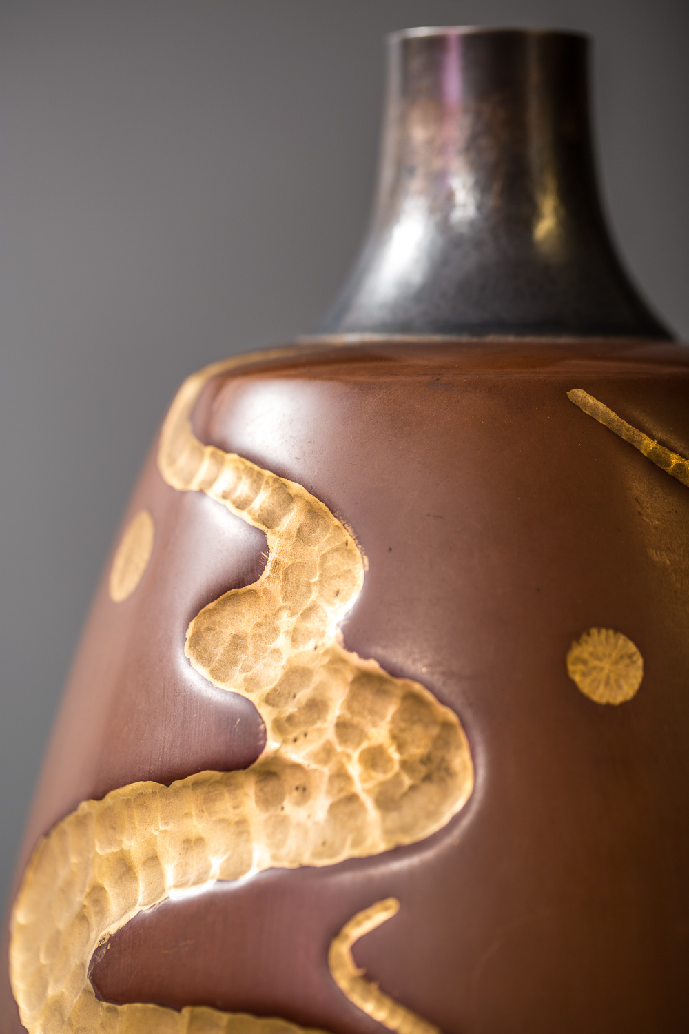 Japanese Modern, Showa Period,  Bronze Vase with Whimsical All-Over Hammered Gold Design