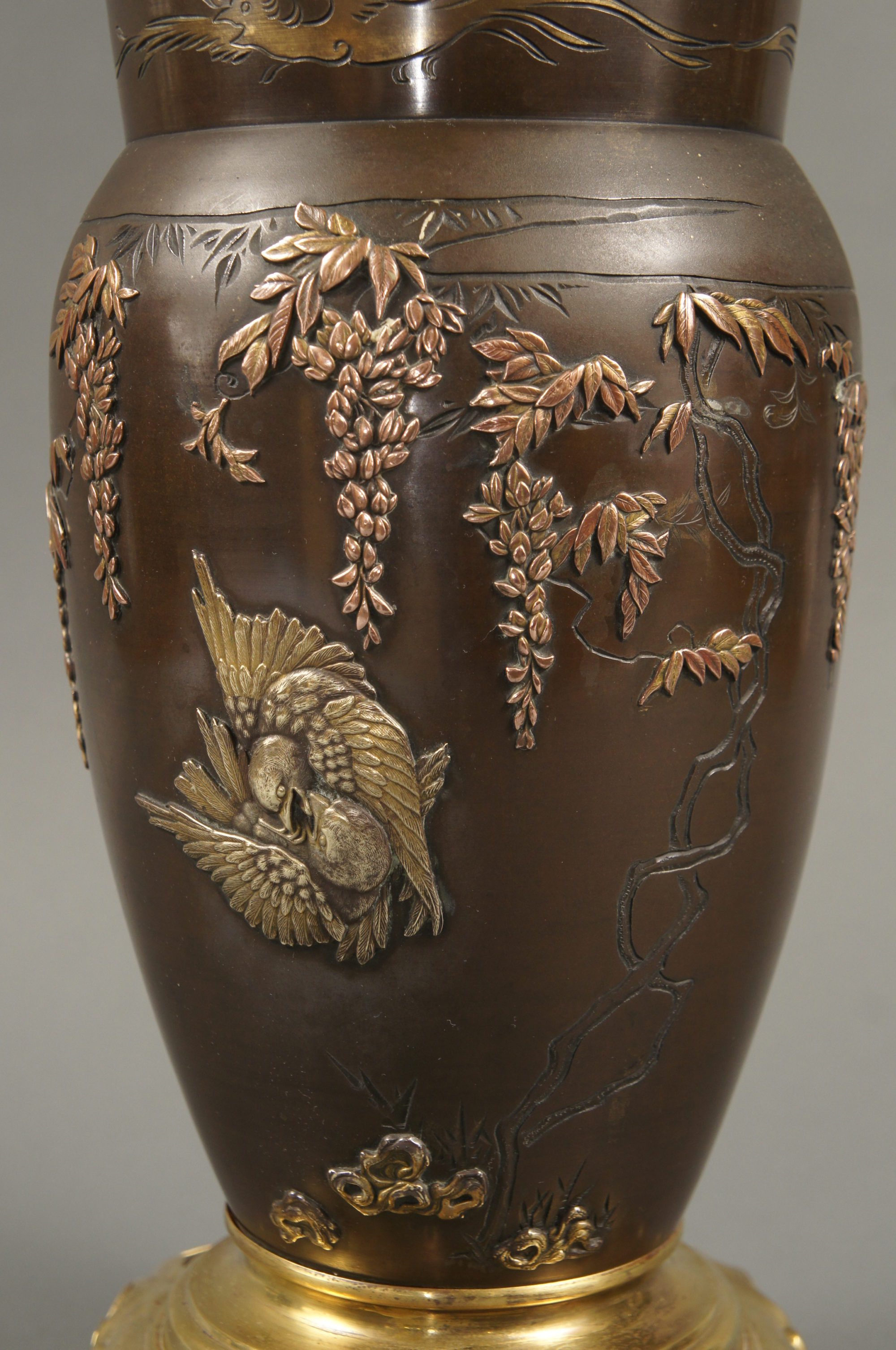 Japanese Multi Metal Bronze Vase with French Mounts