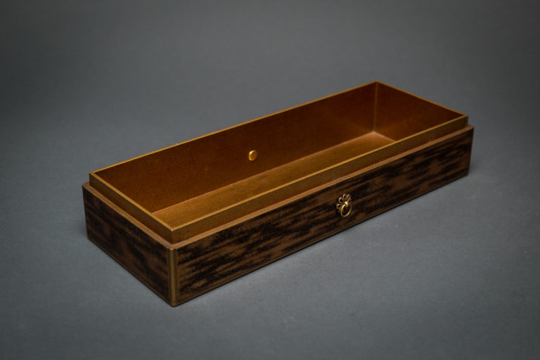 Japanese Nashishi Lacquer Box with Chrysanthemum Design and Silver Detail