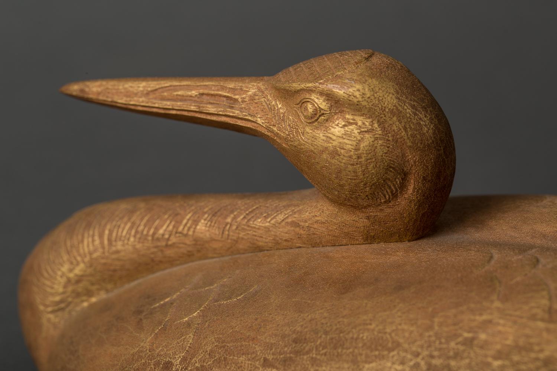 Japanese Old Paulownia Wood Carved Crane