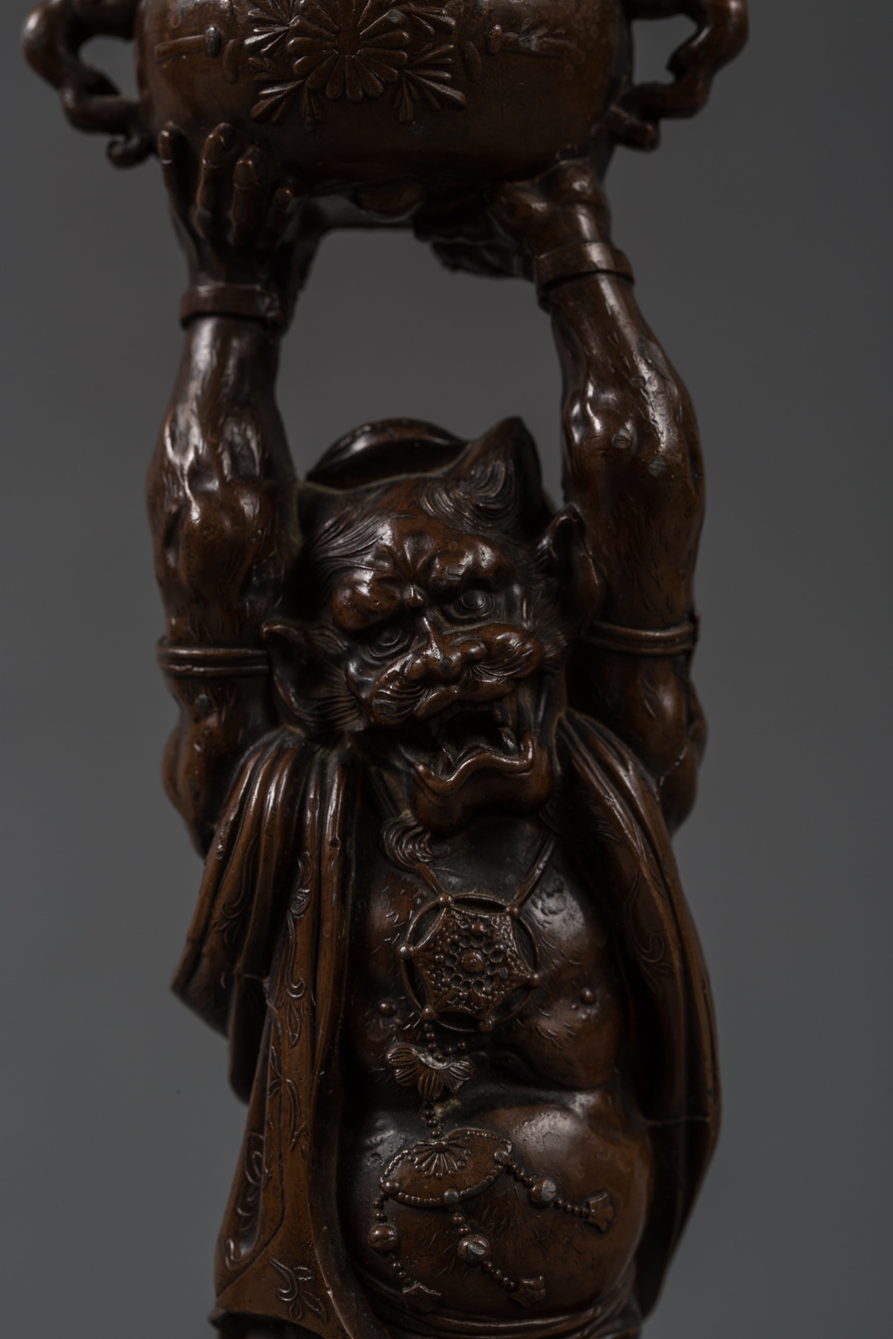 Japanese Pair of Meiji-Style Patinated Bronze Onis