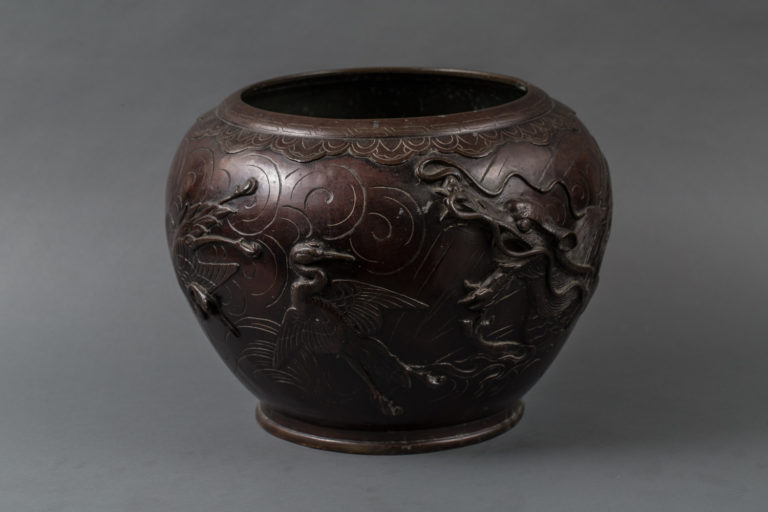 Japanese Patinated Bronze Jardiniere with Cranes and Dragon