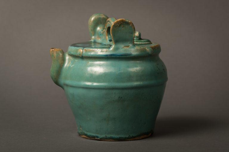 Japanese Pot with Greenish Blue Glaze