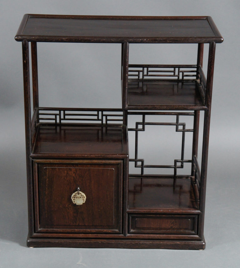 Japanese Rosewood Tea Cabinet with Jade Pull