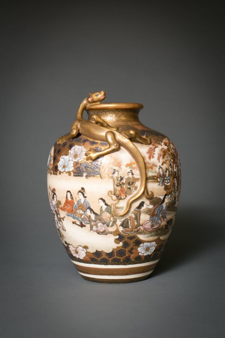 Japanese Satsuma Vase: Ladies of the Court, Kannon and Gilded Dragon