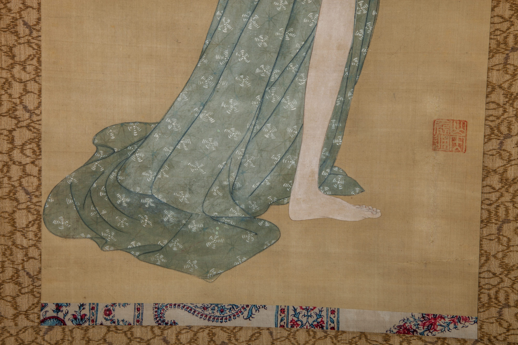 Early 19th Century Japanese Scroll: Bijin After The Bath In Summer