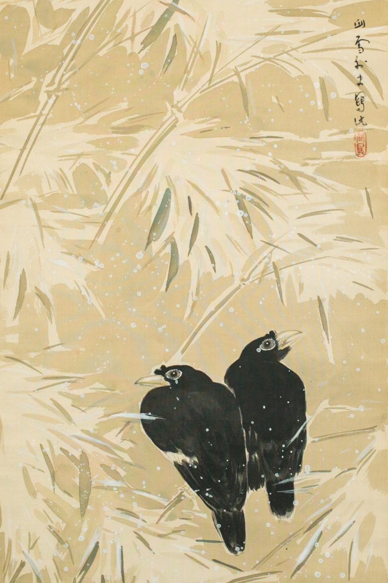 Japanese Scroll: Crows in Snowy Landscape