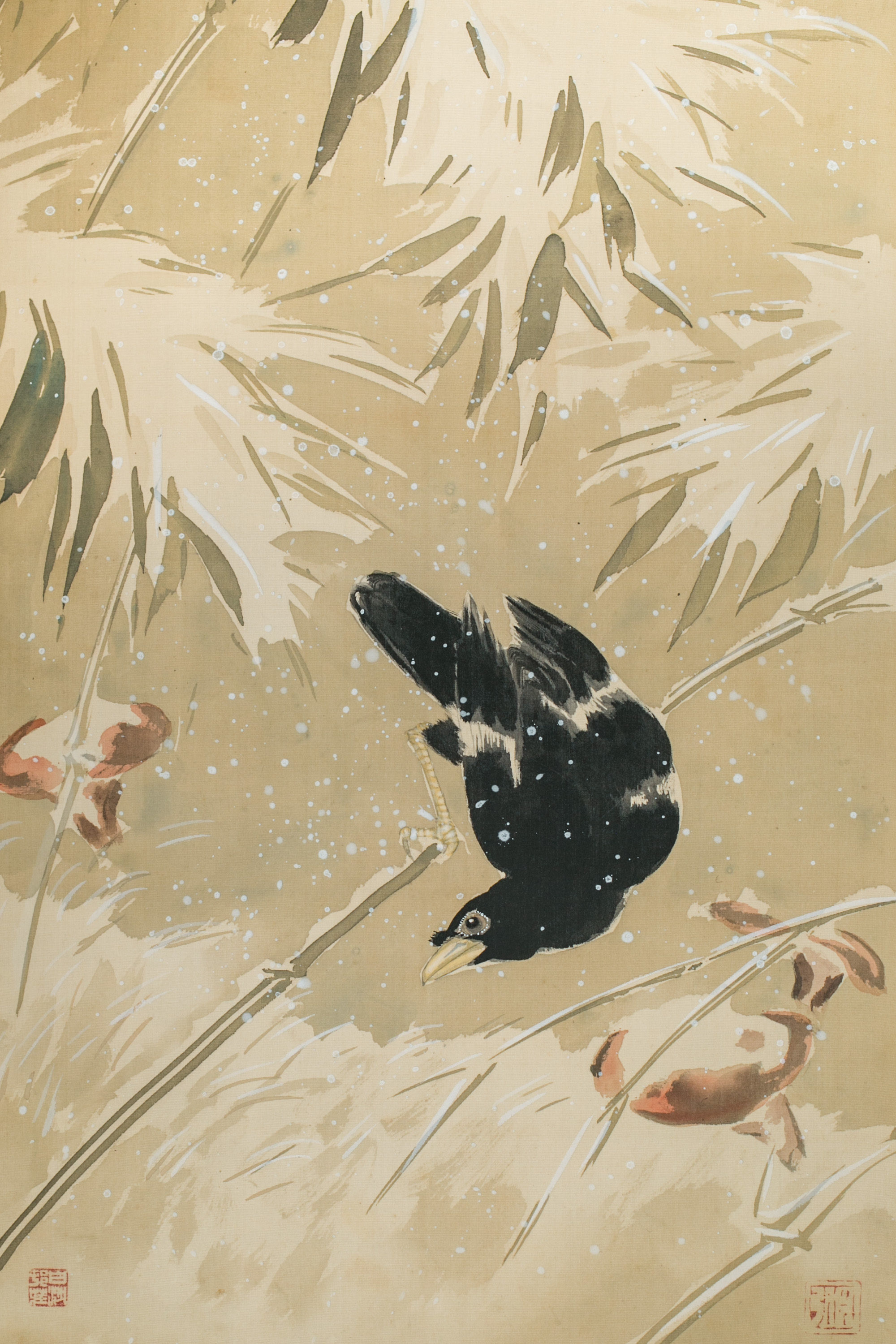 Antique Japanese Scroll: Crows in Snowy Landscape